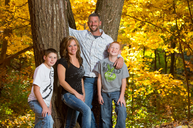 Family Photo in fall leaves