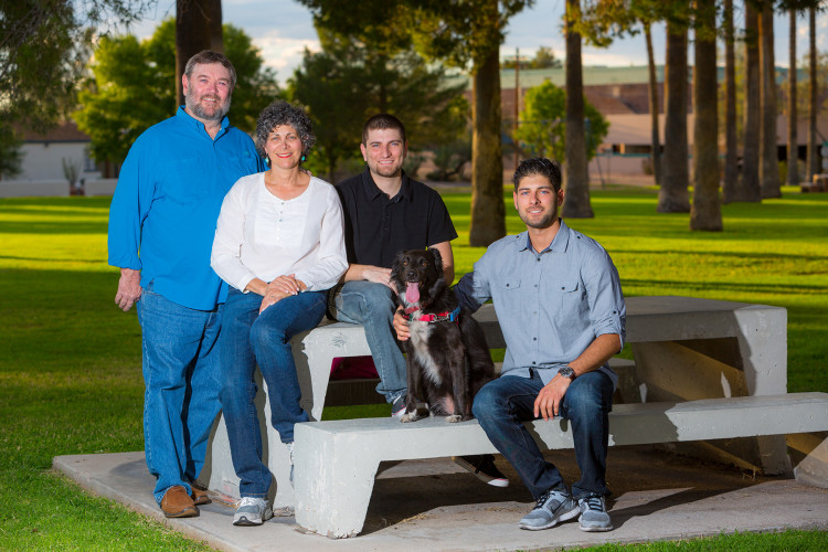 Tucson Family Portrait in a Park with dog