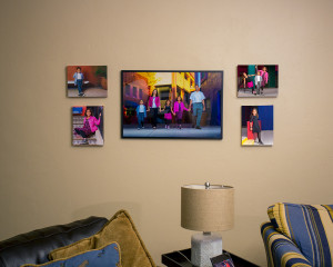 The final portraits as displayed in the home.  Consists of 1 - 24x36 framed print and 4 - 11x14 canvases.