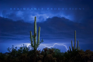 Saguaro Cactus with Lightning